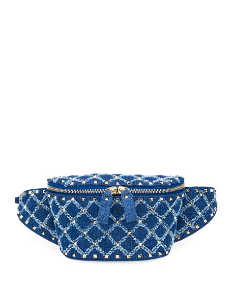 VALENTINO ROCKSTUD SPIKE SMALL DENIM BELT BAG