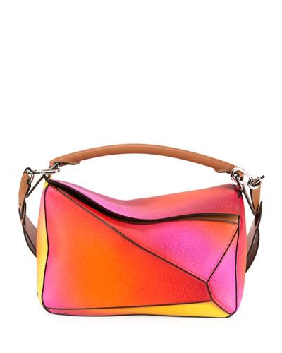 Puzzle Patchwork Colorblock Leather Satchel Bag
