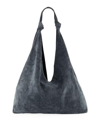 Bindle Double-Knots Suede Hobo Bag