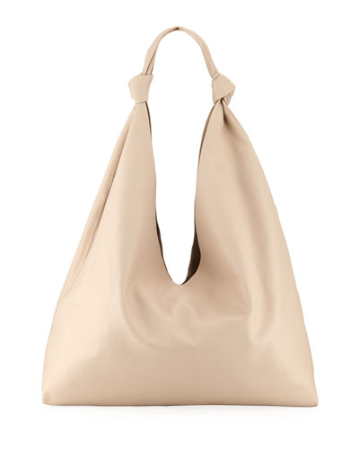 Bindle Double-Knots Leather Hobo Bag