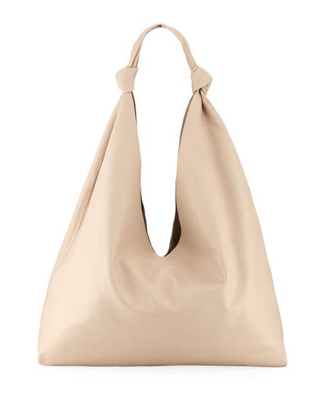 Bindle Double-Knots Leather Hobo Bag, Eggshell