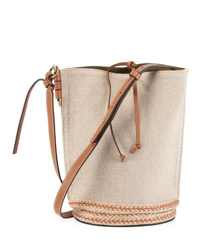 Gate Leather Jute-Trim Bucket Bag
