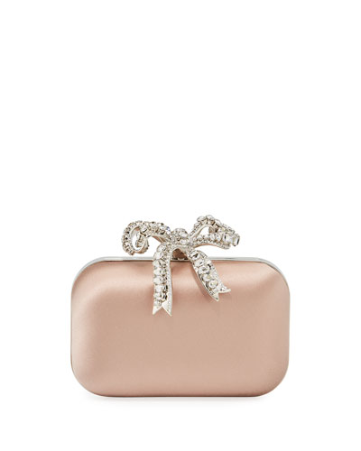 Cloud Bos Satin Clutch Bag with Crystal Bow