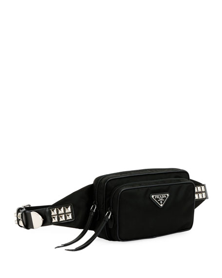 04ec26958080 Prada Prada Black Nylon Belt Bag With Studding