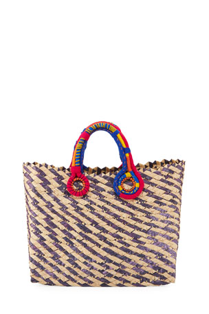 Nannacay Belle Woven Colorblock Tote Bag