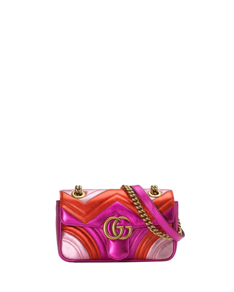 Gucci GG Marmont Mini Quilted Multi Metallic Leather