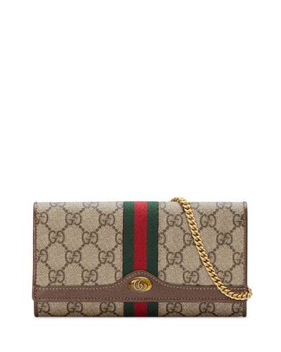 Ophidia GG Supreme Canvas Flap Wallet on Chain