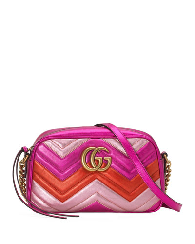 GG Marmont Small Quilted Metallic Leather Camera Bag