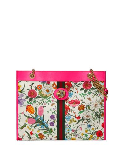 Rajah Medium Floral-Print Tote Bag with Tiger Head
