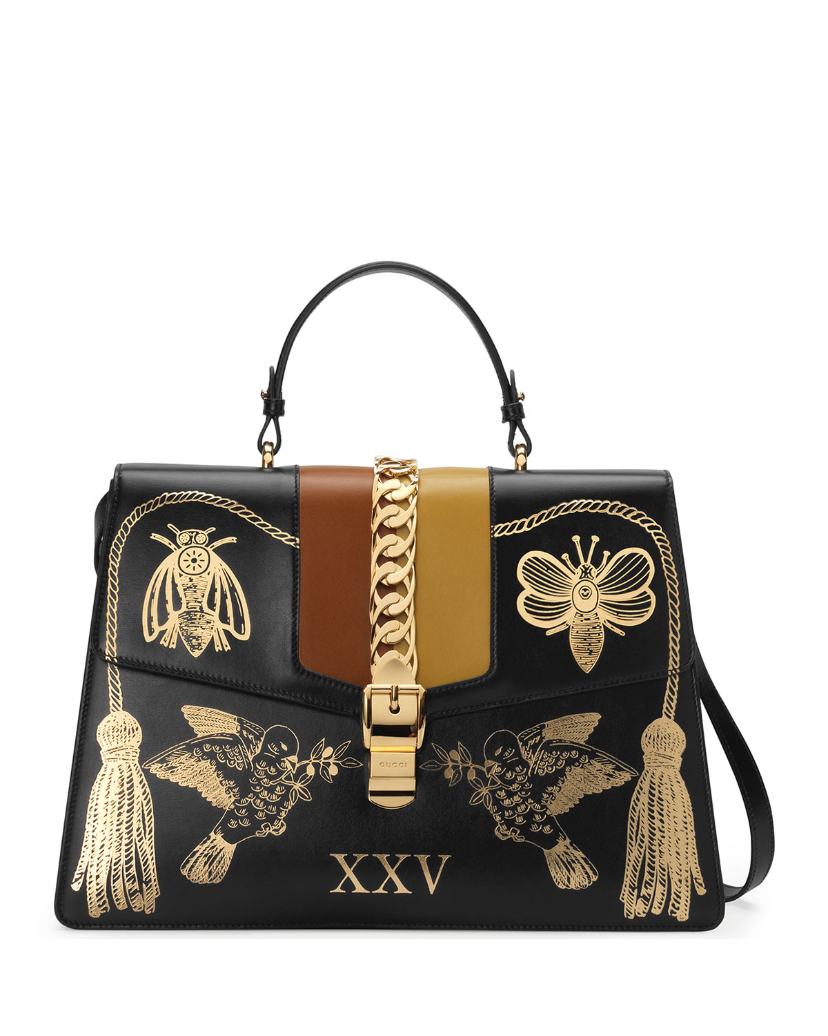 6d513f35db8 Gucci Sylvie Maxi Insects Leather Top-Handle Bag