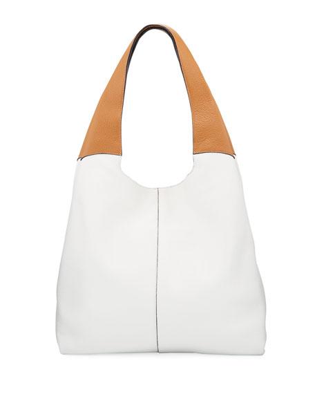 HAYWARD Grand Two-Tone Shopper Tote Bag in White/Brown