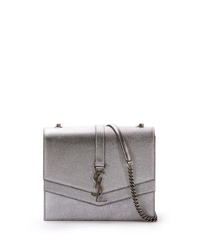 Sulpice Medium YSL Monogram Triple V-Flap Metallic Leather Crossbody Bag