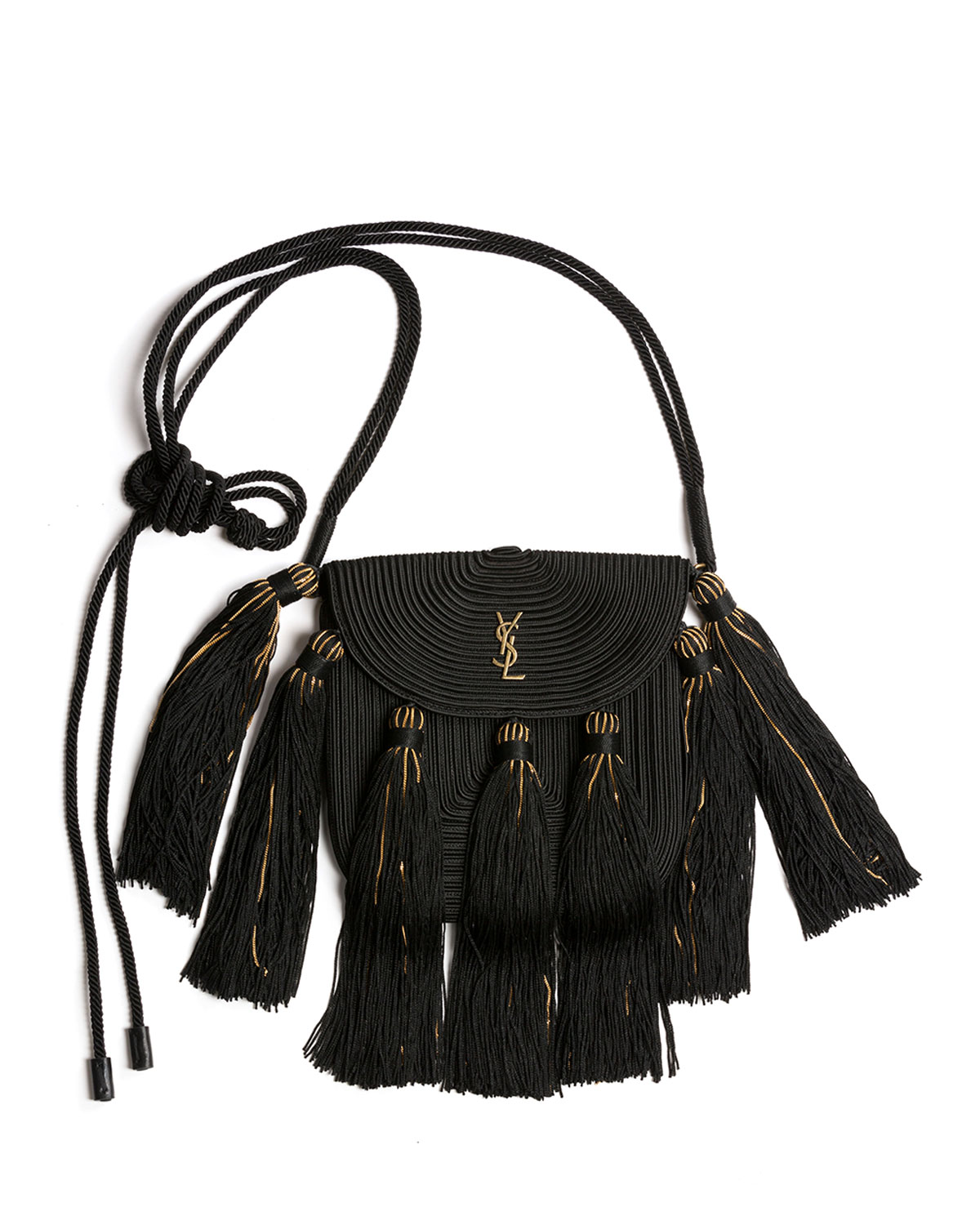 59c54ffa969c Saint LaurentVintage Passementerie Small Monogram YSL Shoulder Bag with  Tassels - Golden Hardware