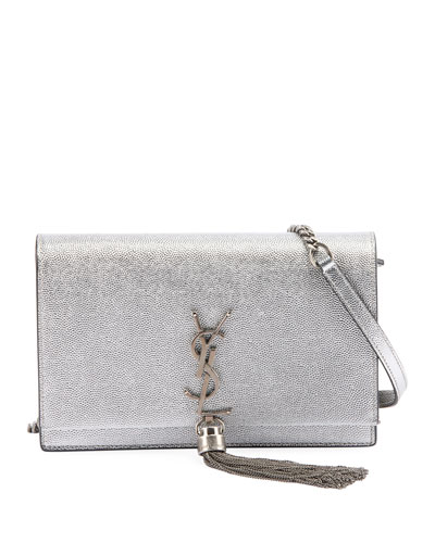 Saint Laurent Kate Monogram YSL Small Crackled Metallic Tassel Wallet on  Chain - Silver Hardware 4c698c32cadc8