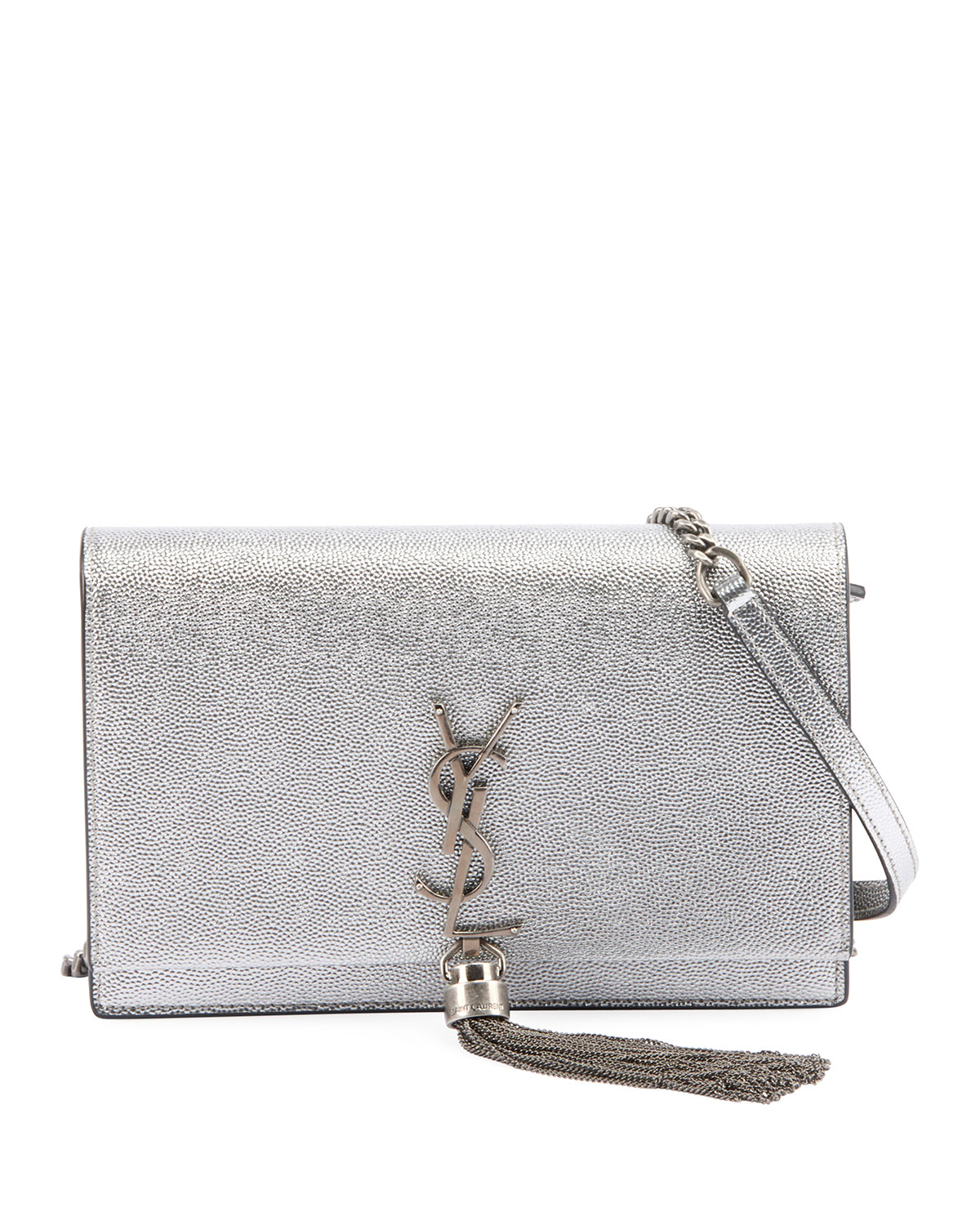 Saint LaurentKate Monogram YSL Small Crackled Metallic Tassel Wallet on  Chain - Silver Hardware 4c62ab90a8b7e