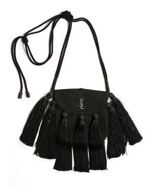 Saint Laurent Vintage Passementerie Small Monogram YSL Shoulder Bag with  Tassels - Silvertone Hardware 115b37946d418
