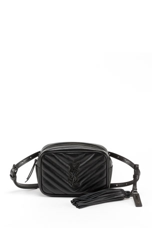 Saint Laurent Lou Quilted Calfskin Belt Bag, Black Hardware
