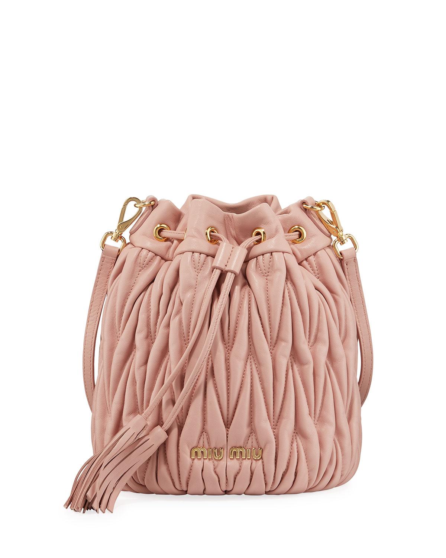 e8a93928b694 Miu Miu Quilted Leather Drawstring Shoulder Bag
