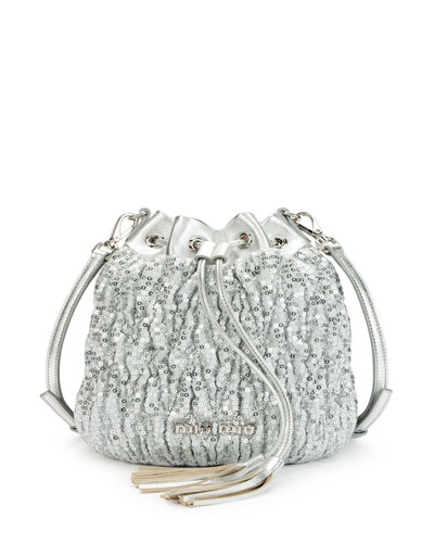 Small Matelasse Paillettes Drawstring Bucket Bag