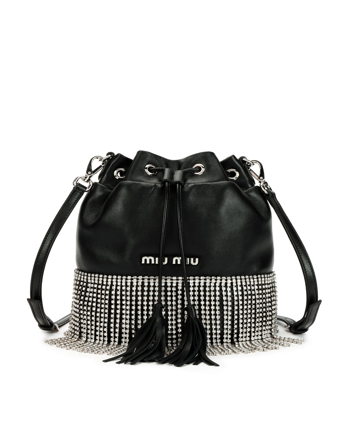 Miu Miu Small Crystal Fringe Napa Drawstring Bucket Bag  8df18854a5656