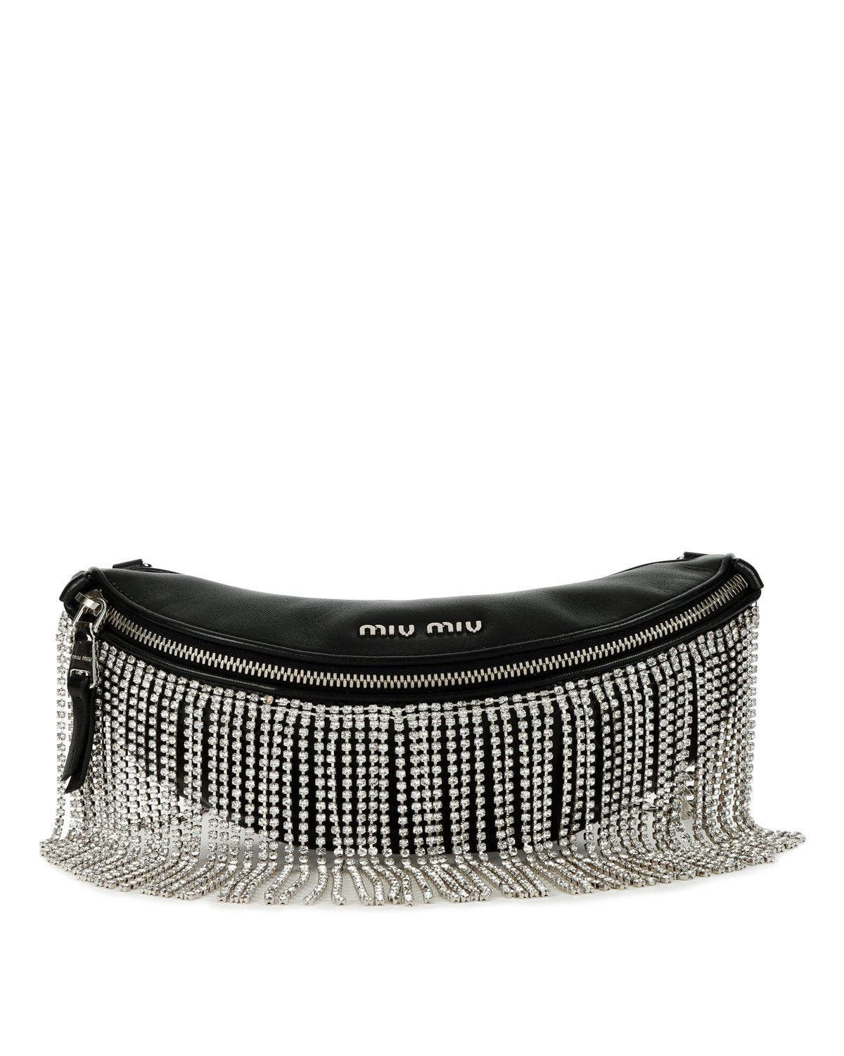 ca4845e6fefb Miu Miu Crystal Fringe Napa Leather Fanny Pack Crossbody Bag ...