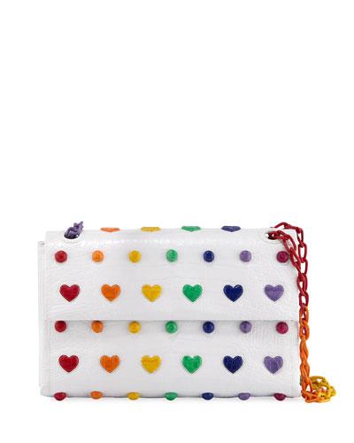 Rainbow Heart Crocodile Shoulder Bag