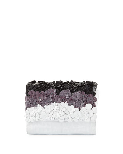 Carrie Small Floral Crocodile Clutch Bag
