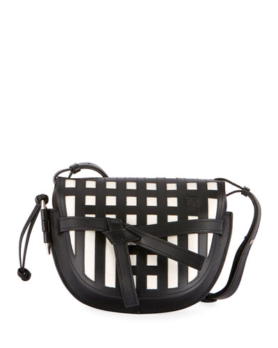 Gate Small Grid Calf Leather/Suede Crossbody Bag
