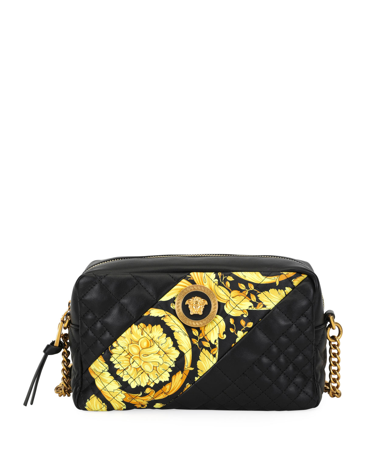 355a9972ecb3 Versace Icon Small Quilted Napa Camera Bag with Barocco Print ...