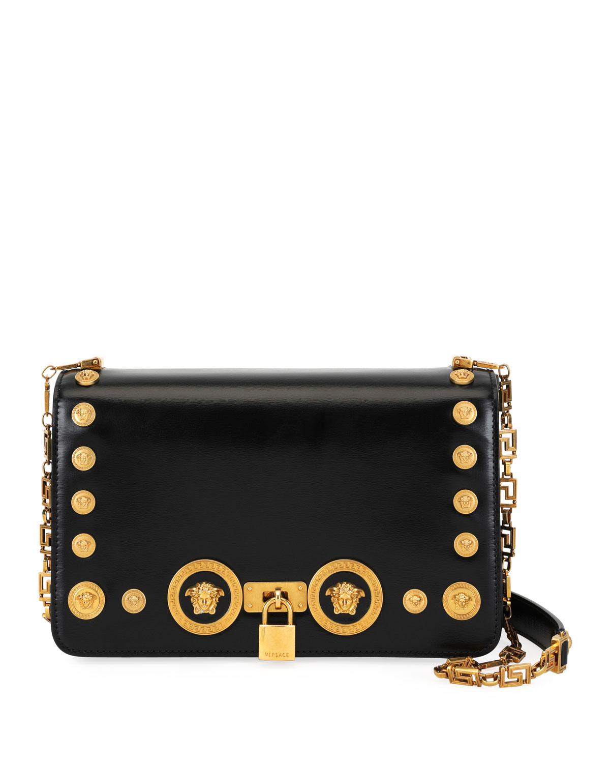 f483084676fb Versace Icon Medium Calf Leather Crossbody Bag with Medusa Studs ...
