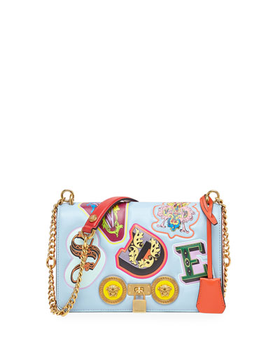 797d9dc70036 Versace Icon Medium Leather Crossbody Bag with Stampa Lettering from ...