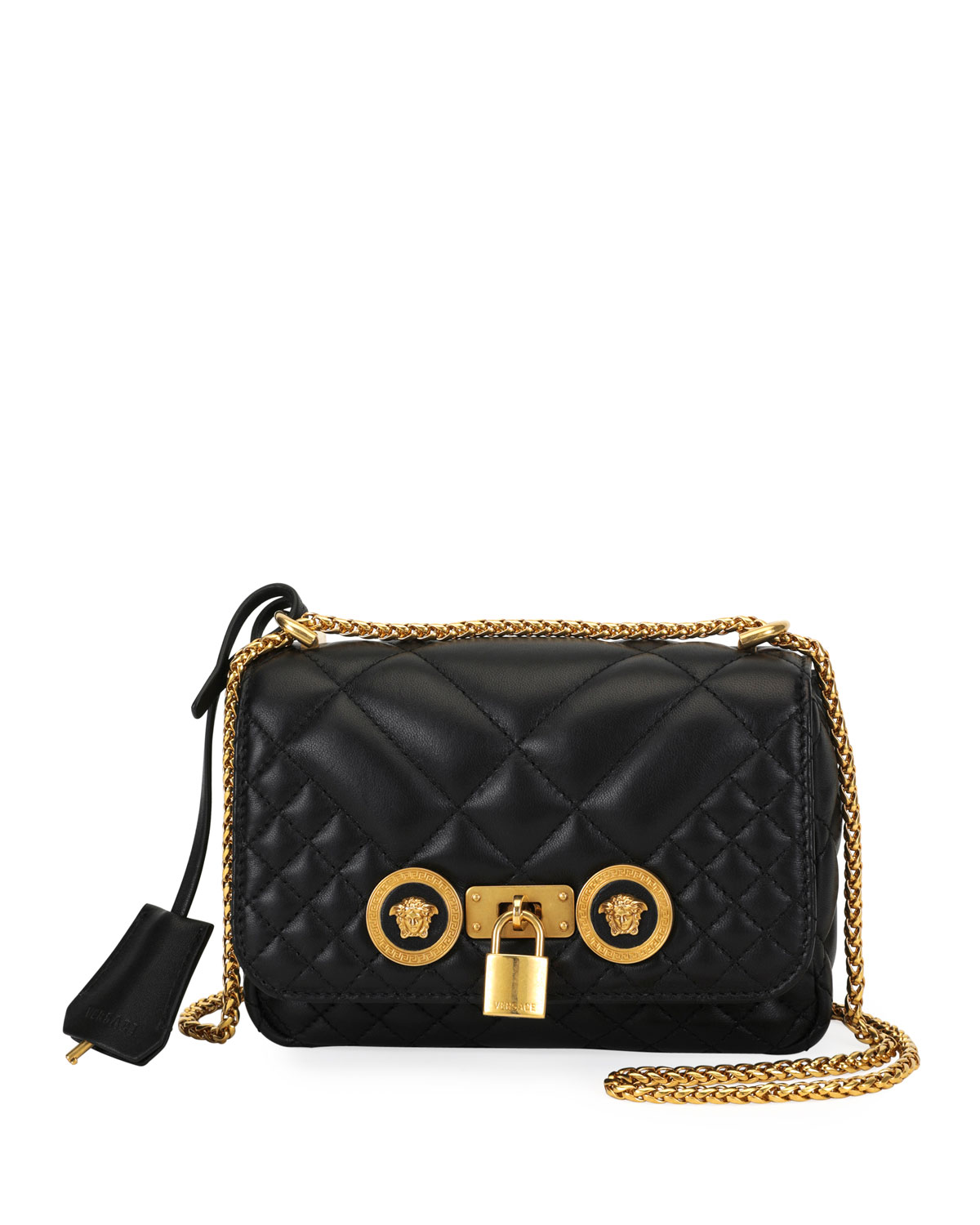 d908f8ac79 VersaceIcon Small Quilted Napa Leather Crossbody Bag with Medusa Detail