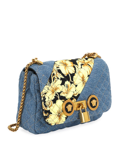 3c9bbe1a18dd Image 2 of 3  Icon Small Denim Crossbody Bag with Barocco Detail