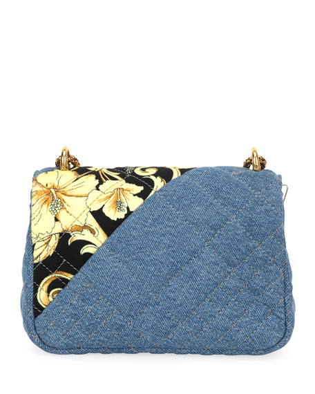 575fd518cfd7 Image 3 of 3  Icon Small Denim Crossbody Bag with Barocco Detail