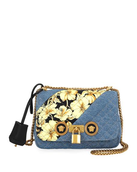 Versace Icon Small Denim Crossbody Bag with Barocco