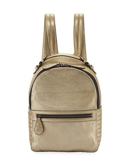 Bottega Veneta Grainy Metallic Leather Backpack