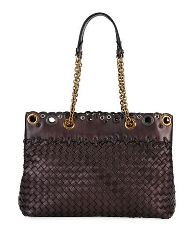 Small Lace Intrecciato Tote Bag