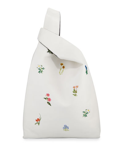 Embroidered Napa Leather Shopper Tote Bag