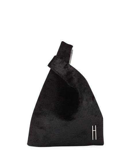 Hayward MINI SHOPPER VELVET TOP HANDLE BAG, BLACK/WHITE