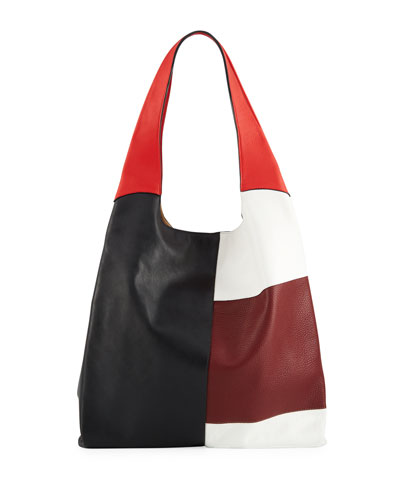 Grand Colorblock Leather Shopper Tote Bag