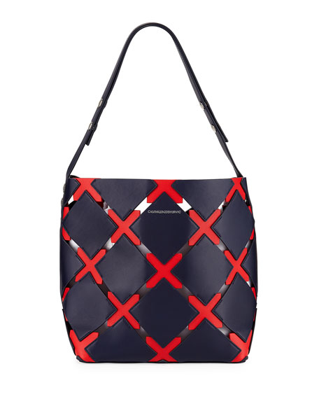 Patchwork Quilt Leather Bucket Bag - Blue in Navy/ Red