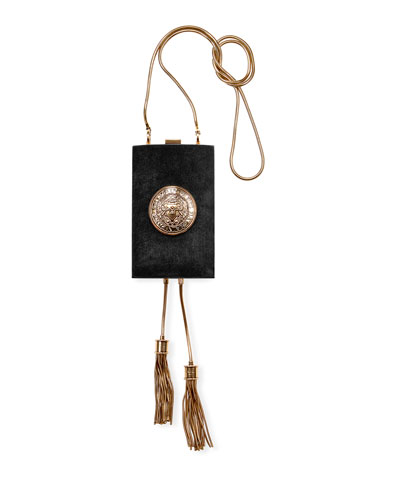 Suede Crossbody Minaudiere Bag with Tassels