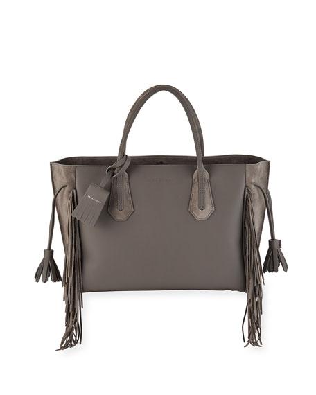 Longchamp Penelope Medium Fringed Suede & Leather Tote