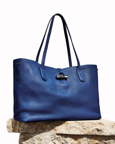Roseau Essential Medium Leather Shoulder Tote Bag
