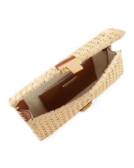 Shop Tory Burch Juliette Rattan Clutch Bag In Brown