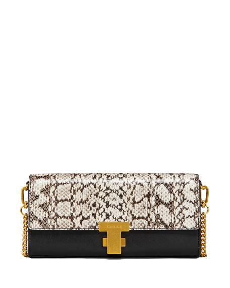 b24d640b34f5 Tory Burch Juliette Exotic Clutch Bag In Black Brown