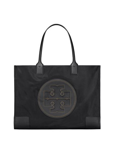 Ella Stud Nylon Tote Bag in Black