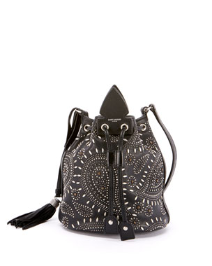 Saint Laurent Anja Small Studded Bandana Bucket Bag 2dcc63307243b