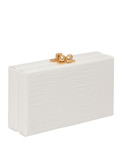 Jean Croc-Embossed Box Clutch Bag