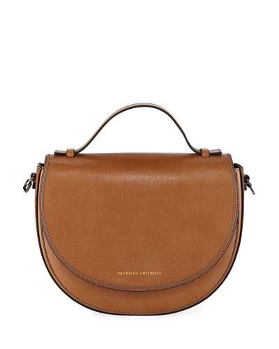 Leather and Monili Crossbody Saddle Bag